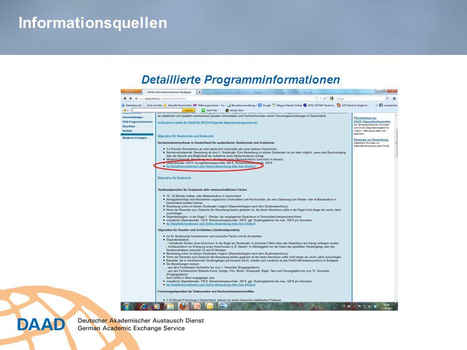 Informationsquellen Detaillierte Programminformationen