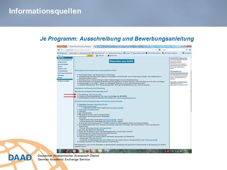 Informationsquellen Je Programm: Ausschreibung und Bewerbungsanleitung