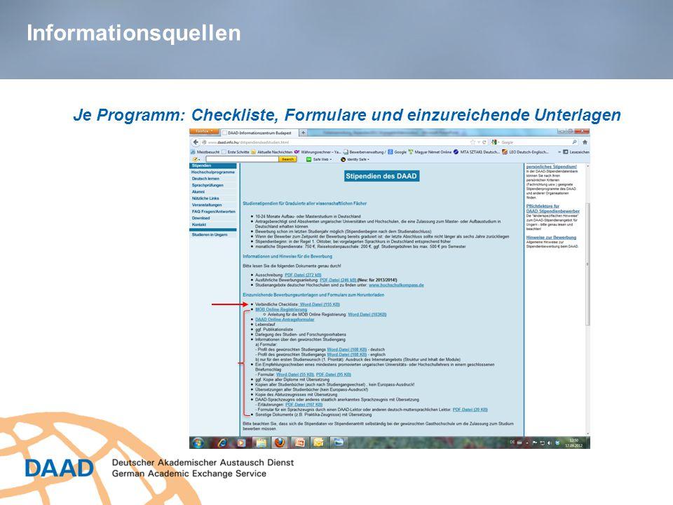 Informationsquellen Je Programm: Checkliste, Formulare und einzureichende Unterlagen