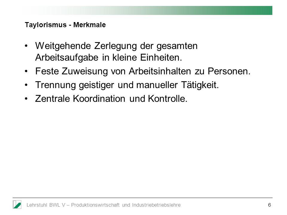 Lehrstuhl BWL V – Produktionswirtschaft und Industriebetriebslehre17 Bull-Whip Effekt: Das Pampers-Beispiel