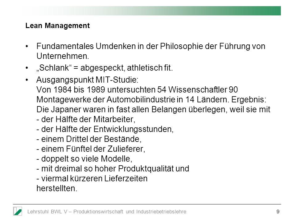 Lehrstuhl BWL V – Produktionswirtschaft und Industriebetriebslehre9 Lean Management Fundamentales Umdenken in der Philosophie der Führung von Unterneh