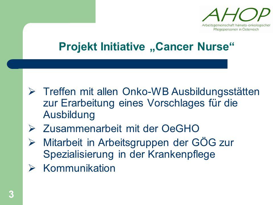 """Projekt Initiative """"Cancer Nurse  Treffen mit allen Onko-WB Ausbildungsstätten zur Erarbeitung eines Vorschlages für die Ausbildung  Zusammenarbeit mit der OeGHO  Mitarbeit in Arbeitsgruppen der GÖG zur Spezialisierung in der Krankenpflege  Kommunikation 3"""