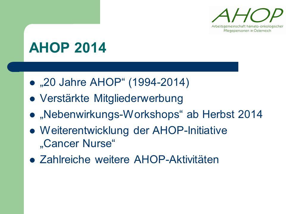 """AHOP 2014 """"20 Jahre AHOP (1994-2014) Verstärkte Mitgliederwerbung """"Nebenwirkungs-Workshops ab Herbst 2014 Weiterentwicklung der AHOP-Initiative """"Cancer Nurse Zahlreiche weitere AHOP-Aktivitäten"""