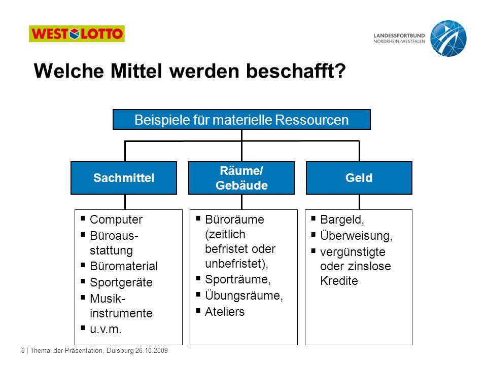 8 | Thema der Präsentation, Duisburg 26.10.2009 Sachmittel Räume/ Gebäude Geld  Computer  Büroaus- stattung  Büromaterial  Sportgeräte  Musik- instrumente  u.v.m.