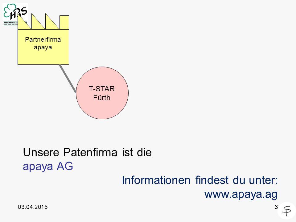 03.04.20153 Unsere Patenfirma ist die apaya AG Informationen findest du unter: www.apaya.ag T-STAR Fürth Partnerfirma apaya