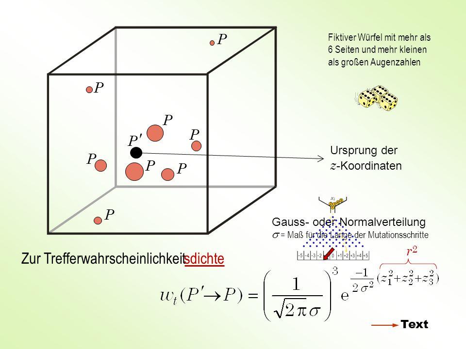 Normalverteilte Zufallszahlen z i für die Mutation der Variablen x i zizi w 0 22 + Wendepunkt der Kurve