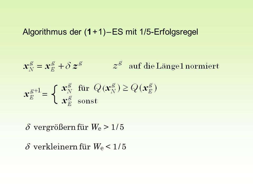 Algorithmus der (1 + 1) – ES mit 1/5-Erfolgsregel  vergrößern für W e > 1 / 5  verkleinern für W e < 1 / 5