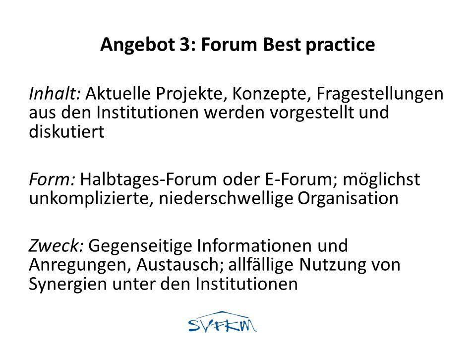 Angebot 3: Forum Best practice Inhalt: Aktuelle Projekte, Konzepte, Fragestellungen aus den Institutionen werden vorgestellt und diskutiert Form: Halb