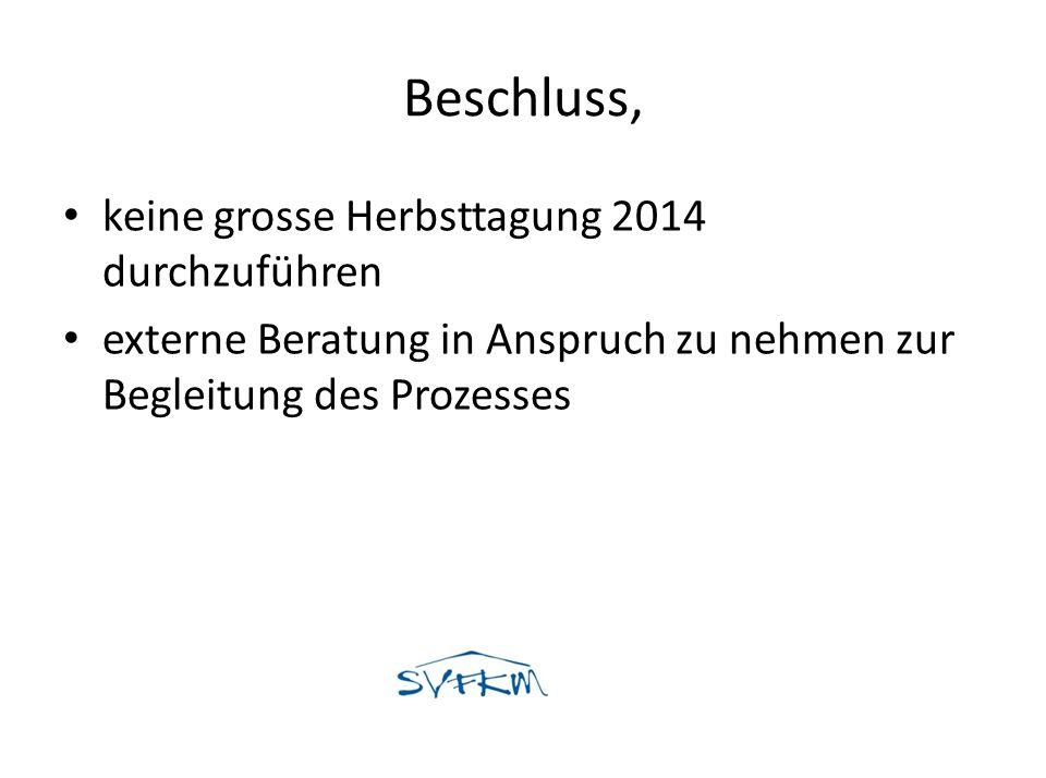 Beschluss, keine grosse Herbsttagung 2014 durchzuführen externe Beratung in Anspruch zu nehmen zur Begleitung des Prozesses