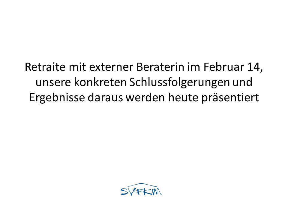 Retraite mit externer Beraterin im Februar 14, unsere konkreten Schlussfolgerungen und Ergebnisse daraus werden heute präsentiert