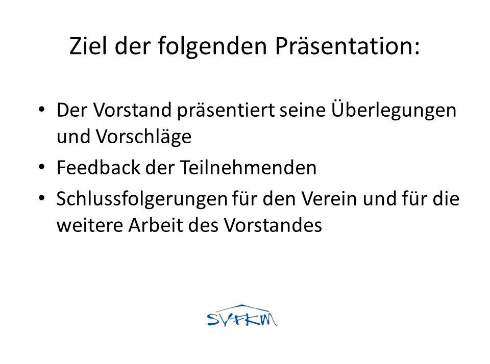Ziel der folgenden Präsentation: Der Vorstand präsentiert seine Überlegungen und Vorschläge Feedback der Teilnehmenden Schlussfolgerungen für den Vere