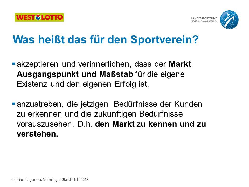 10 | Grundlagen des Marketings, Stand 31.11.2012 Was heißt das für den Sportverein?  akzeptieren und verinnerlichen, dass der Markt Ausgangspunkt und