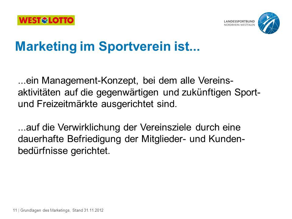 11 | Grundlagen des Marketings, Stand 31.11.2012 Marketing im Sportverein ist......ein Management-Konzept, bei dem alle Vereins- aktivitäten auf die g