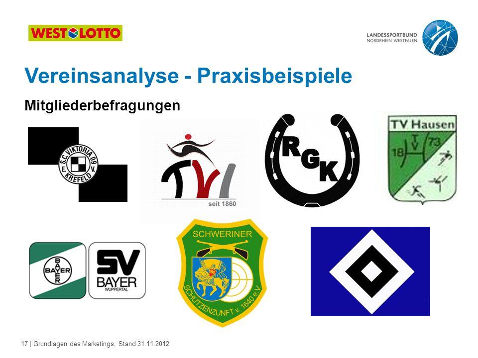 17 | Grundlagen des Marketings, Stand 31.11.2012 Vereinsanalyse - Praxisbeispiele Mitgliederbefragungen