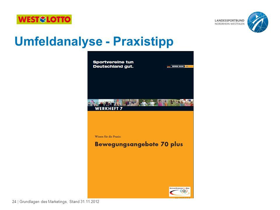 24 | Grundlagen des Marketings, Stand 31.11.2012 Umfeldanalyse - Praxistipp