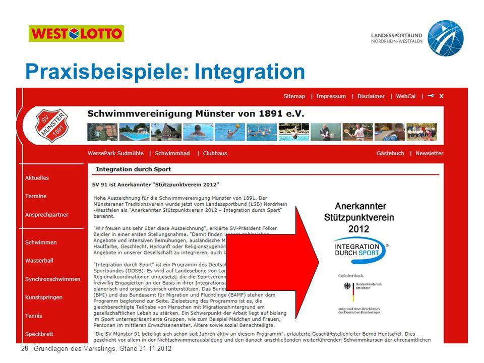 28 | Grundlagen des Marketings, Stand 31.11.2012 Praxisbeispiele: Integration