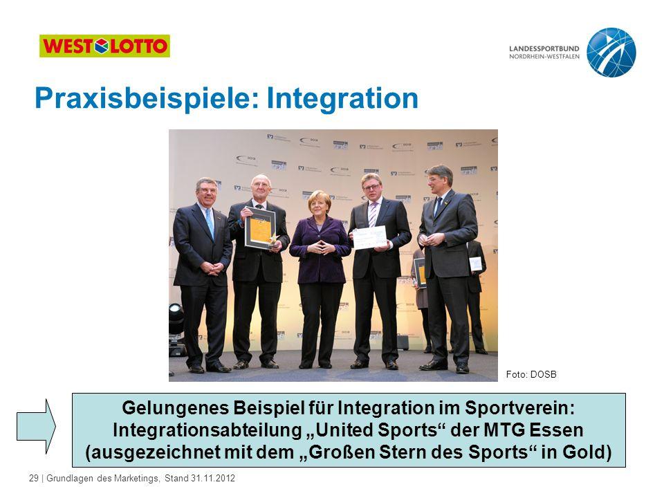 29 | Grundlagen des Marketings, Stand 31.11.2012 Praxisbeispiele: Integration Gelungenes Beispiel für Integration im Sportverein: Integrationsabteilun