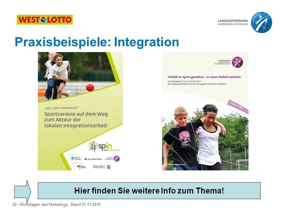 30 | Grundlagen des Marketings, Stand 31.11.2012 Praxisbeispiele: Integration Hier finden Sie weitere Info zum Thema!