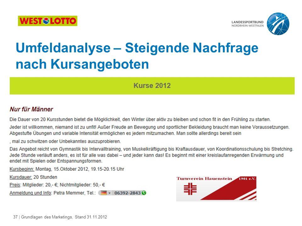 37 | Grundlagen des Marketings, Stand 31.11.2012 Umfeldanalyse – Steigende Nachfrage nach Kursangeboten