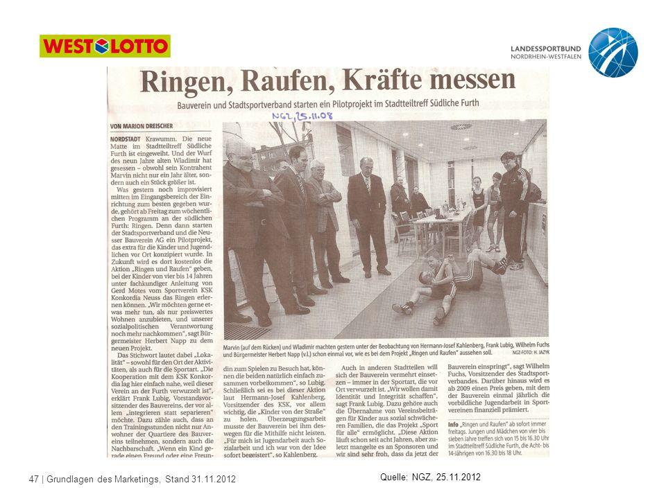 47 | Grundlagen des Marketings, Stand 31.11.2012 Quelle: NGZ, 25.11.2012