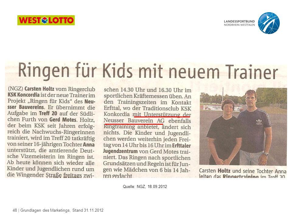48 | Grundlagen des Marketings, Stand 31.11.2012 Quelle: NGZ, 18.09.2012