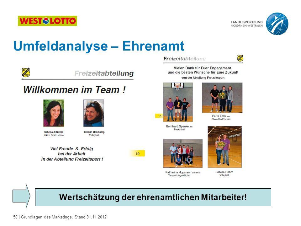 50 | Grundlagen des Marketings, Stand 31.11.2012 Wertschätzung der ehrenamtlichen Mitarbeiter! Umfeldanalyse – Ehrenamt
