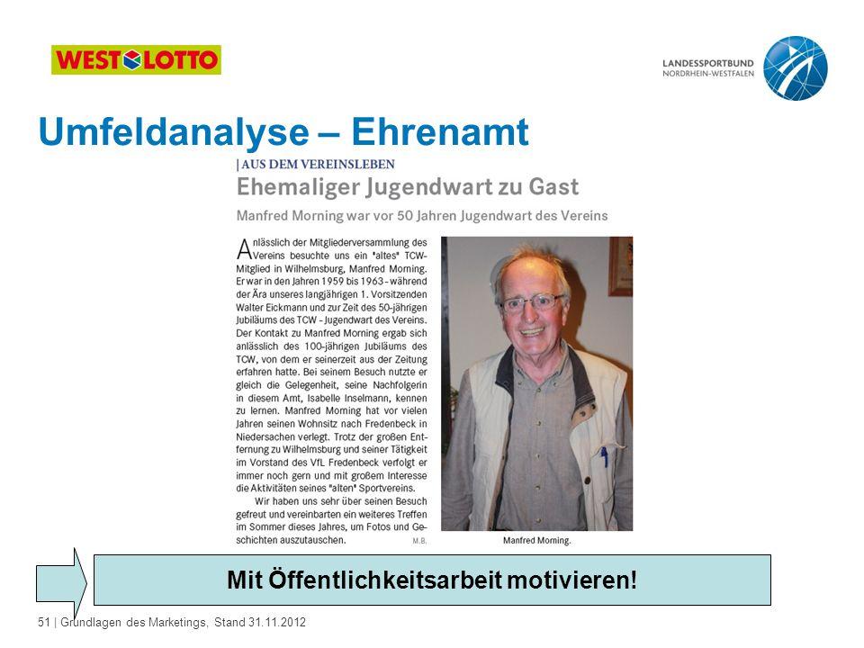 51 | Grundlagen des Marketings, Stand 31.11.2012 Mit Öffentlichkeitsarbeit motivieren! Umfeldanalyse – Ehrenamt