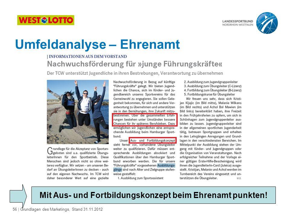 56 | Grundlagen des Marketings, Stand 31.11.2012 Umfeldanalyse – Ehrenamt Mit Aus- und Fortbildungskonzept beim Ehrenamt punkten!