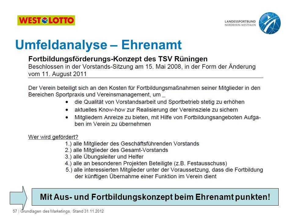 57 | Grundlagen des Marketings, Stand 31.11.2012 Umfeldanalyse – Ehrenamt Mit Aus- und Fortbildungskonzept beim Ehrenamt punkten!