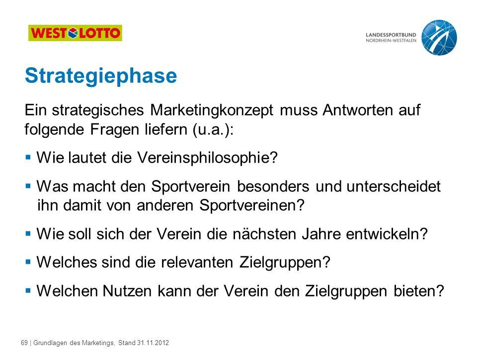 69 | Grundlagen des Marketings, Stand 31.11.2012 Strategiephase Ein strategisches Marketingkonzept muss Antworten auf folgende Fragen liefern (u.a.):