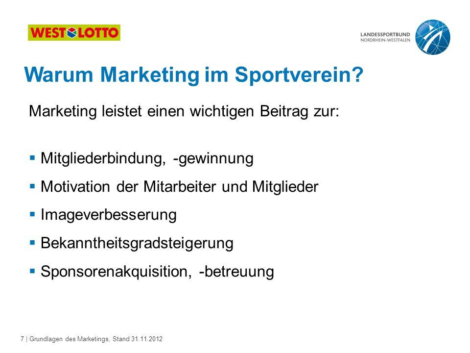 7 | Grundlagen des Marketings, Stand 31.11.2012 Warum Marketing im Sportverein? Marketing leistet einen wichtigen Beitrag zur:  Mitgliederbindung, -g