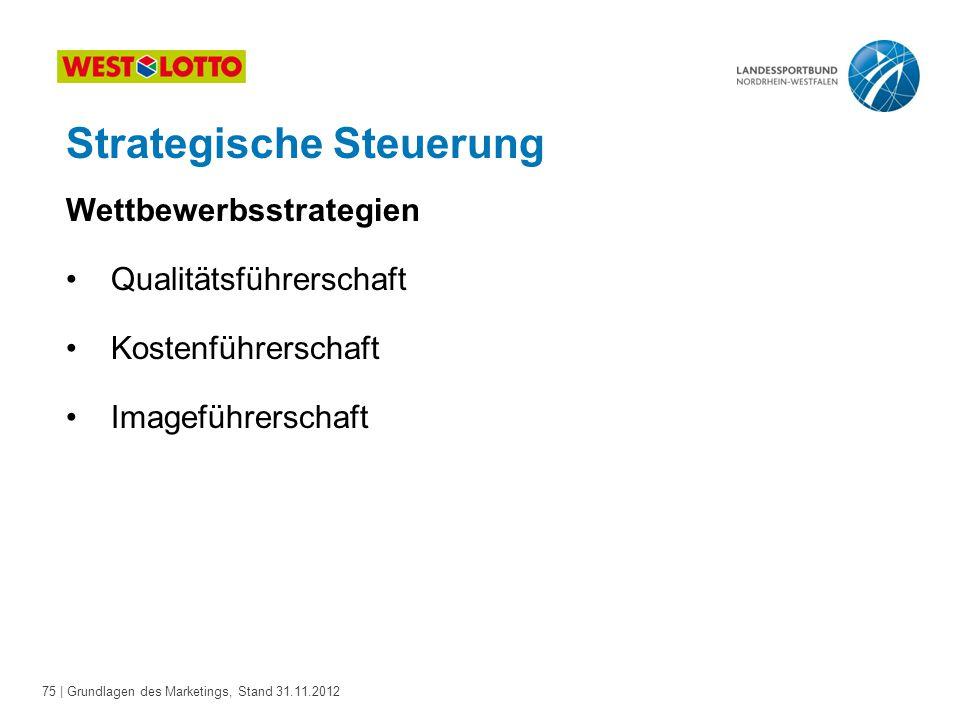 75 | Grundlagen des Marketings, Stand 31.11.2012 Wettbewerbsstrategien Qualitätsführerschaft Kostenführerschaft Imageführerschaft Strategische Steueru