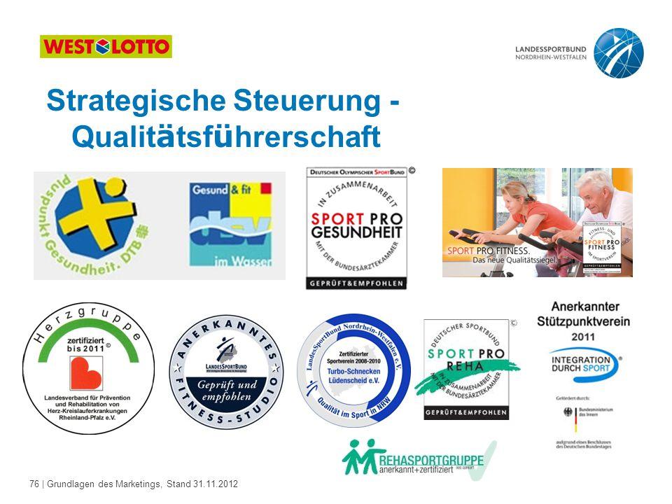 76 | Grundlagen des Marketings, Stand 31.11.2012 Strategische Steuerung - Qualit ä tsf ü hrerschaft