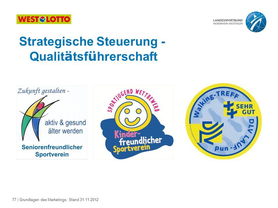 77 | Grundlagen des Marketings, Stand 31.11.2012 Strategische Steuerung - Qualit ä tsf ü hrerschaft
