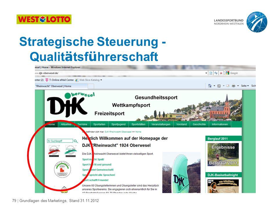79 | Grundlagen des Marketings, Stand 31.11.2012 Strategische Steuerung - Qualit ä tsf ü hrerschaft