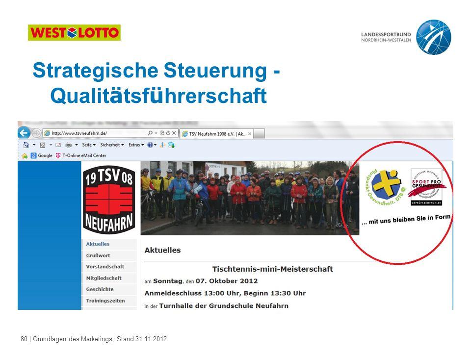 80 | Grundlagen des Marketings, Stand 31.11.2012 Strategische Steuerung - Qualit ä tsf ü hrerschaft