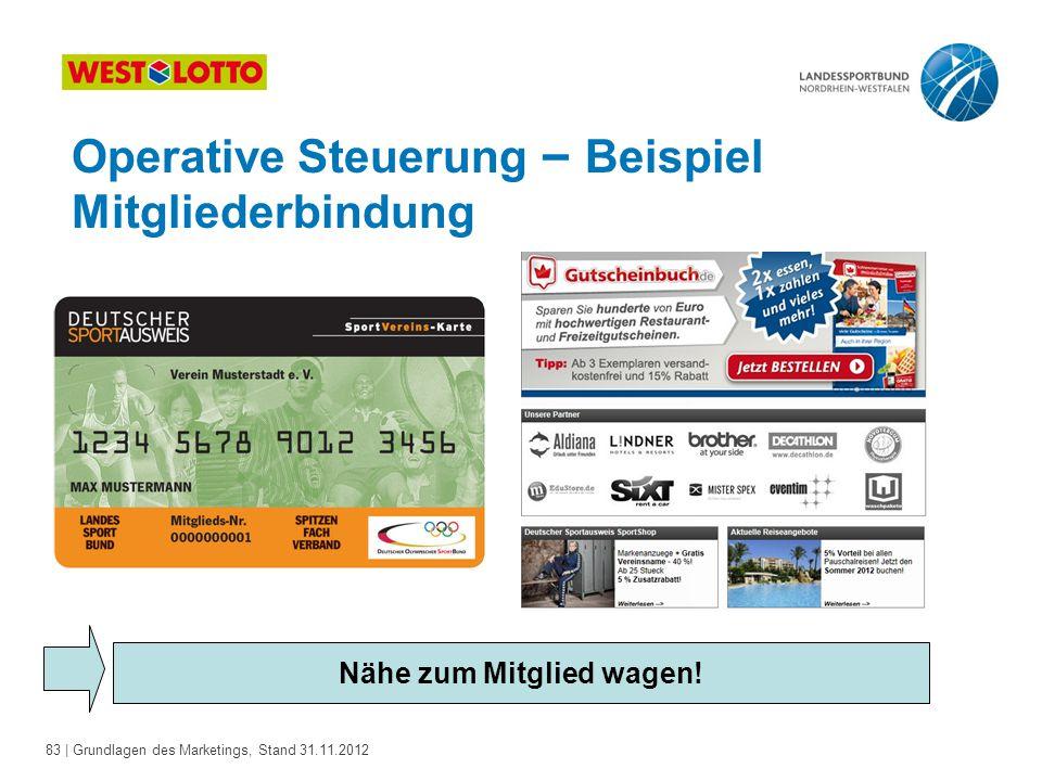 83 | Grundlagen des Marketings, Stand 31.11.2012 Operative Steuerung – Beispiel Mitgliederbindung Nähe zum Mitglied wagen!