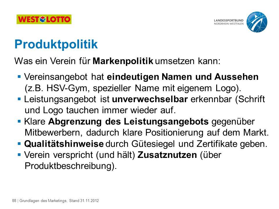 88 | Grundlagen des Marketings, Stand 31.11.2012 Produktpolitik Was ein Verein für Markenpolitik umsetzen kann:  Vereinsangebot hat eindeutigen Namen