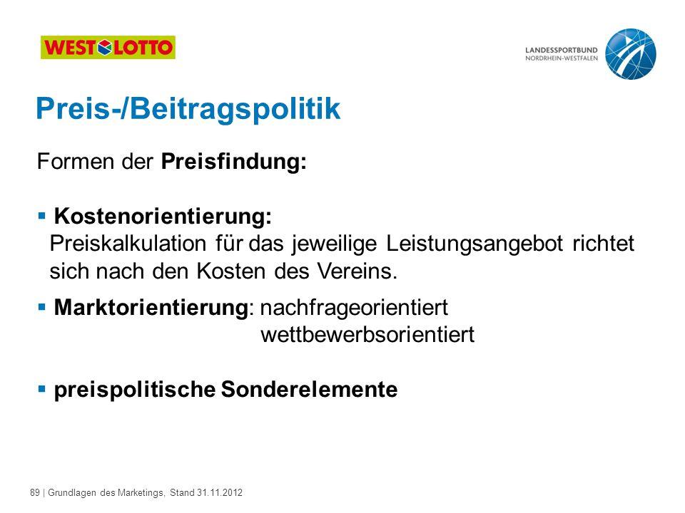 89 | Grundlagen des Marketings, Stand 31.11.2012 Preis-/Beitragspolitik Formen der Preisfindung:  Kostenorientierung: Preiskalkulation für das jeweil