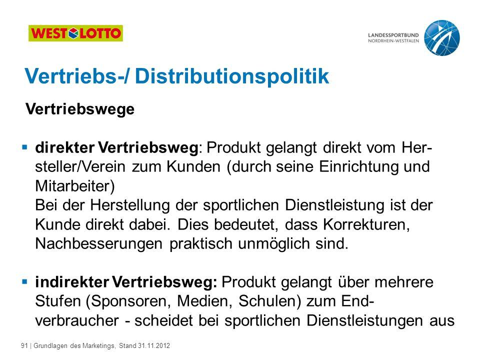 91 | Grundlagen des Marketings, Stand 31.11.2012 Vertriebs-/ Distributionspolitik Vertriebswege  direkter Vertriebsweg: Produkt gelangt direkt vom He