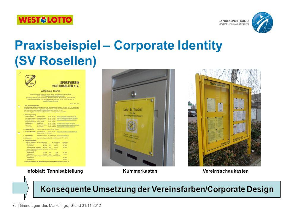 93 | Grundlagen des Marketings, Stand 31.11.2012 Praxisbeispiel – Corporate Identity (SV Rosellen) Konsequente Umsetzung der Vereinsfarben/Corporate D