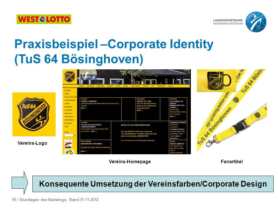 95 | Grundlagen des Marketings, Stand 31.11.2012 Praxisbeispiel –Corporate Identity (TuS 64 Bösinghoven) Konsequente Umsetzung der Vereinsfarben/Corpo