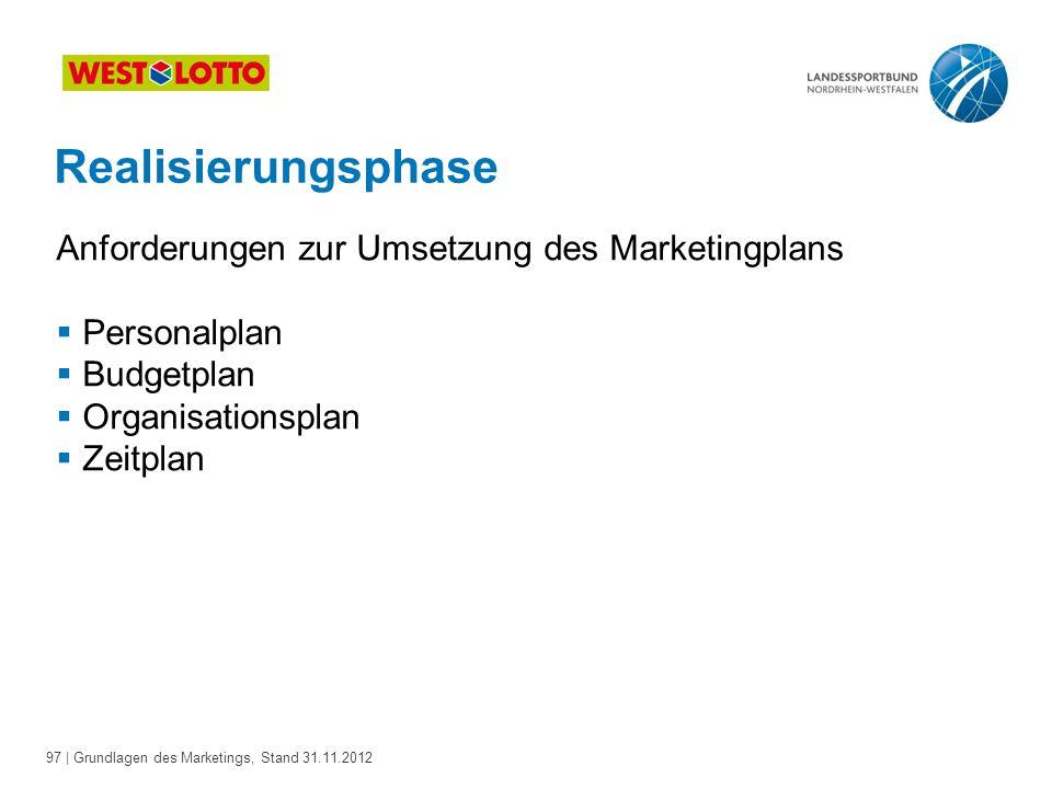 97 | Grundlagen des Marketings, Stand 31.11.2012 Realisierungsphase Anforderungen zur Umsetzung des Marketingplans  Personalplan  Budgetplan  Organ