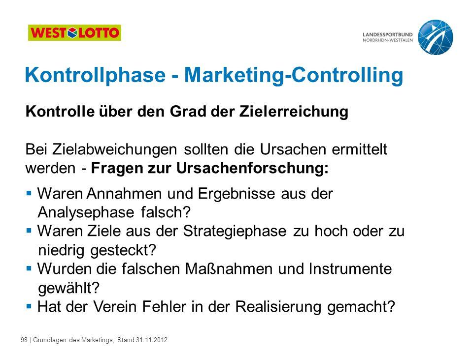 98 | Grundlagen des Marketings, Stand 31.11.2012 Kontrollphase - Marketing-Controlling Kontrolle über den Grad der Zielerreichung Bei Zielabweichungen