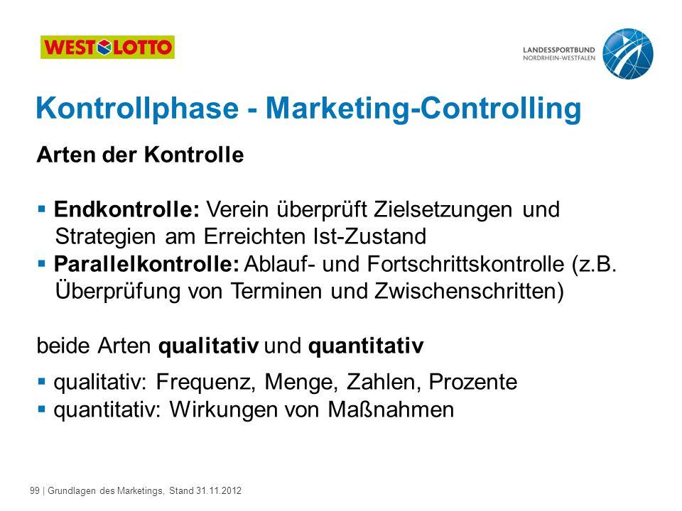 99 | Grundlagen des Marketings, Stand 31.11.2012 Kontrollphase - Marketing-Controlling Arten der Kontrolle  Endkontrolle: Verein überprüft Zielsetzun