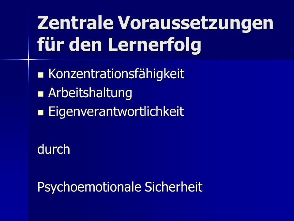 Zentrale Voraussetzungen für den Lernerfolg Konzentrationsfähigkeit Konzentrationsfähigkeit Arbeitshaltung Arbeitshaltung Eigenverantwortlichkeit Eigenverantwortlichkeitdurch Psychoemotionale Sicherheit