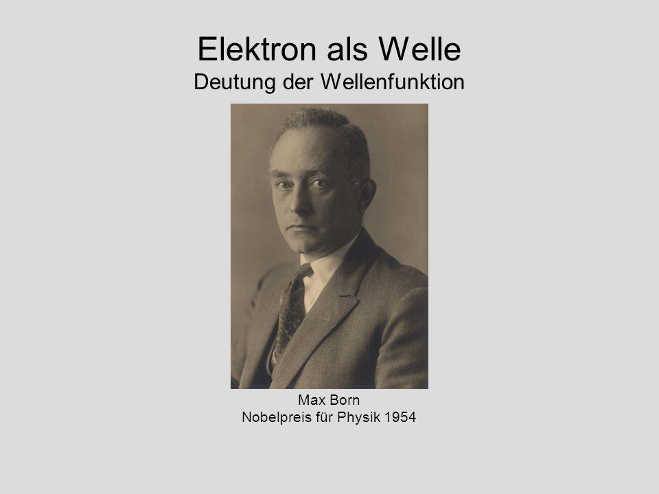 Elektron als Welle Deutung der Wellenfunktion Max Born Nobelpreis für Physik 1954