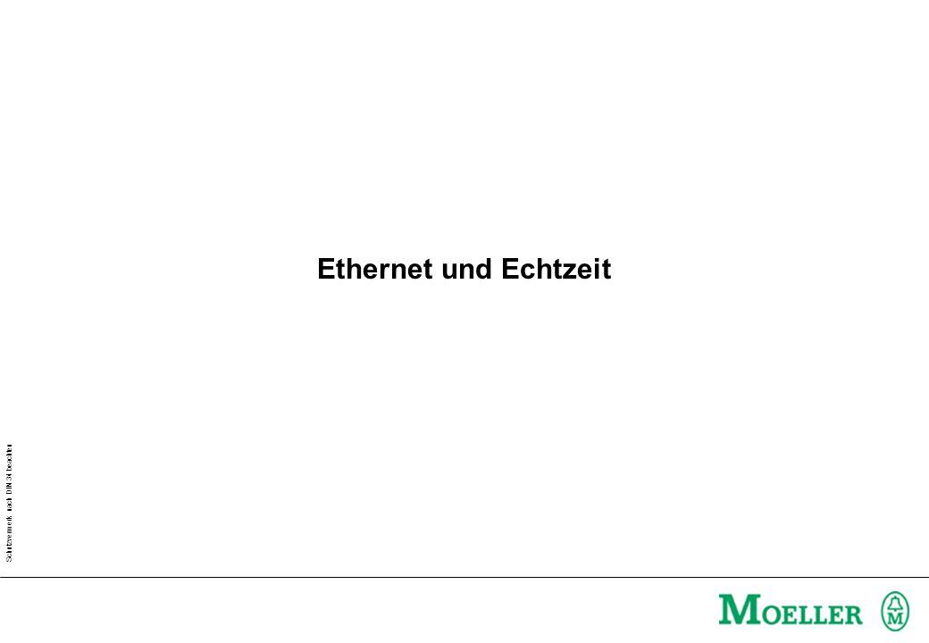 Schutzvermerk nach DIN 34 beachten Nachrichtenpriorisierung 802-1 p/Q –Standard des IEEE (Insitute for Electrical and Electronic Engineers) –Beschleunigte Behandlung von zeitkritischen Nachrichten in Bridges & Switches –Dynamische Registrierung der zeitkritischen Nachrichten –Beschränkung von Multicast Paketen –Ethernet Header wird um 4 Bytes vergrößert –Kompatibilitätsprobleme .