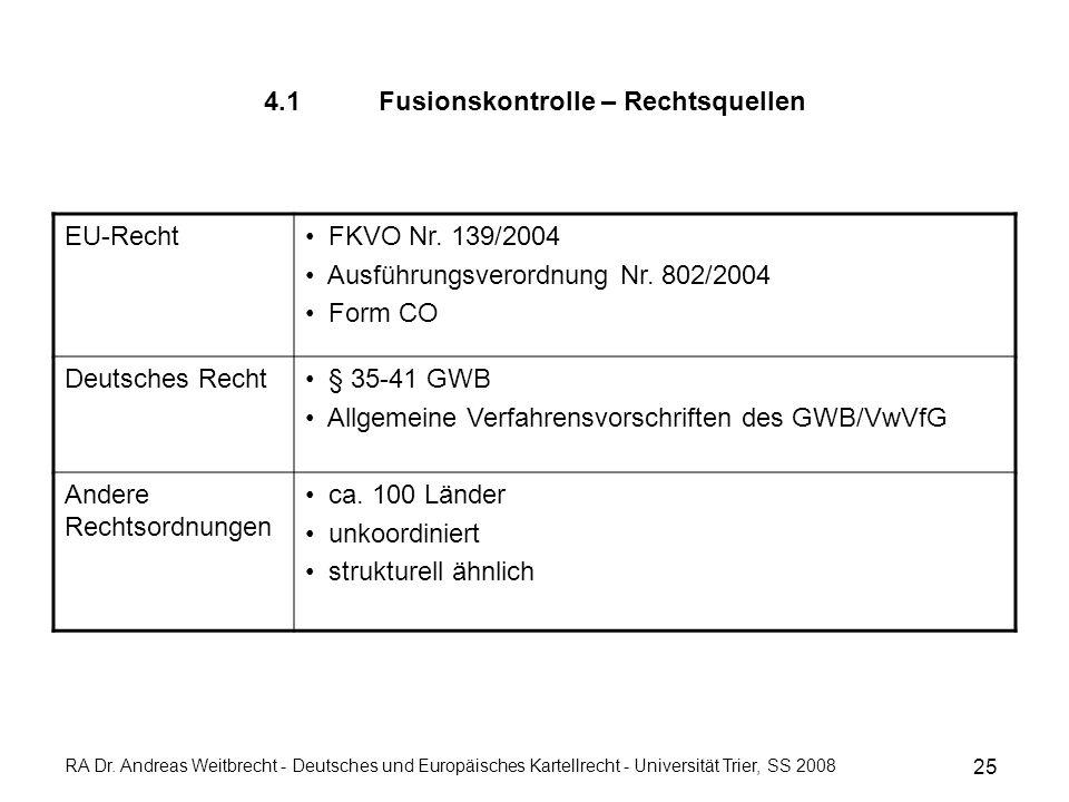4.1 Fusionskontrolle – Rechtsquellen EU-Recht FKVO Nr.