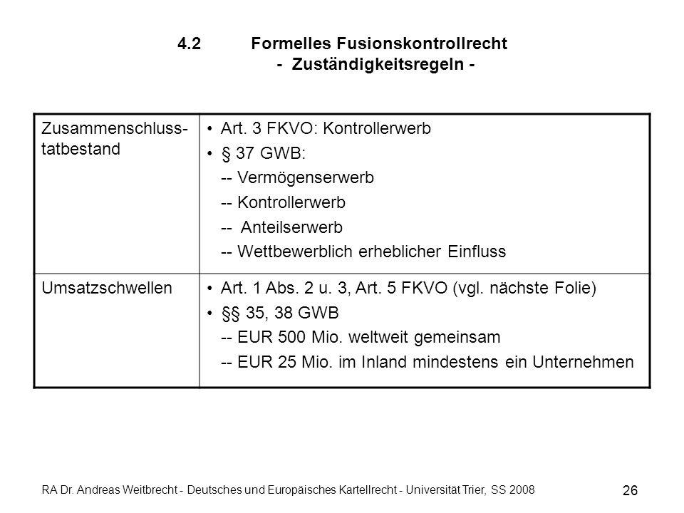 4.2 Formelles Fusionskontrollrecht - Zuständigkeitsregeln - 26 RA Dr.